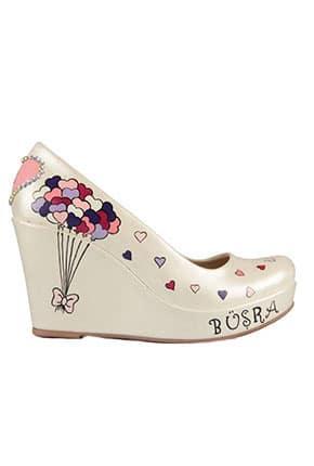 Desenli Dolgu Topuk Gelin Ayakkabıları