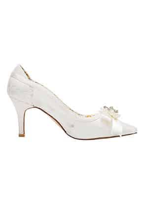 Stiletto Dantelli Taşlı Gelin Ayakkabısı